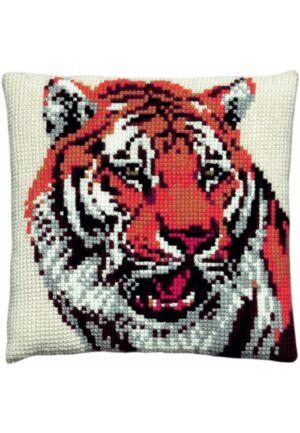 """Coussin point de croix 40x40cm, kit complet soudan """"Le tigre"""""""