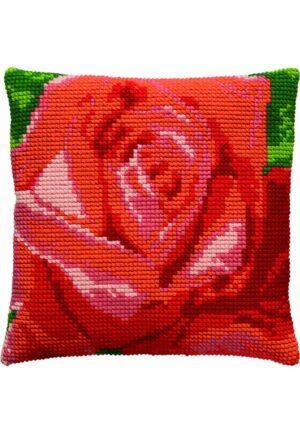 """Coussin point de croix 40x40cm, kit complet soudan """"La rose rouge"""""""