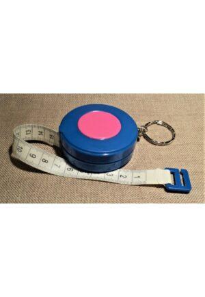 Ruban centimetre bleu enrouleur couture automatique 150 cm avec porte clé