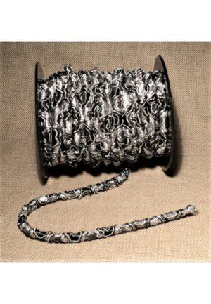 Elastique 5mm noir gris, élastique cordon rond, élastique décoratif