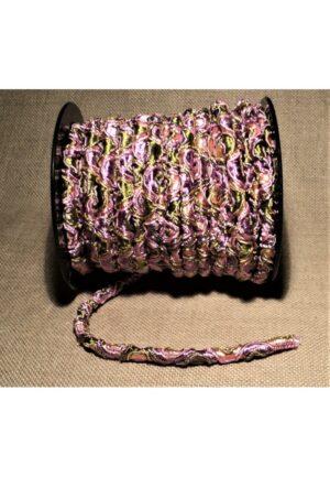 Elastique 5mm vieux rose vert olive, élastique cordon rond, élastique décoratif