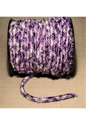 Elastique 5mm mauve violet blanc, élastique cordon rond, élastique décoratif