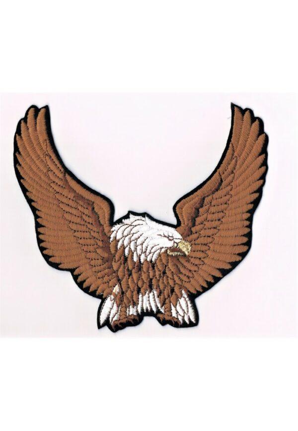 Ecusson aigle taille large marron thermocollant 19x18cm