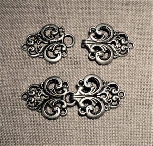 Agrafe cape métal 27mm, argenté mat, fermoir gilet, veste, norvégienne médiéval, gotique
