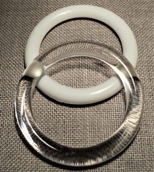 Anneau 45mm blanc et transparent polyester pour les rideaux, crocheter, les décorations, store romain, couture et loisir