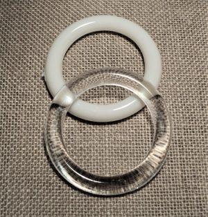 Anneau 27mm blanc et transparent polyester pour les rideaux, crocheter, les décorations, store romain, couture et loisir