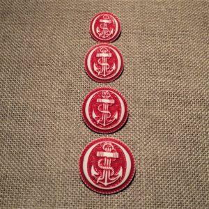 Bouton ancre rouge 15182023mm caban marin, bouton corsaire bombé