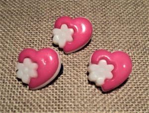 Bouton cœur fantaisie fuchsia, 14mm, bouton enfant
