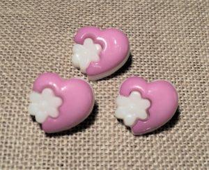 Bouton cœur fantaisie rose bonbon clair, 14mm, bouton enfant