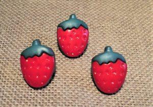 Bouton fraise 11mm rouge vert, Petit bouton enfant