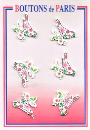 Bouton la colombe 30mm (6pcs) blanc, vert, rose bouton 2-trous, boutons décoratifs