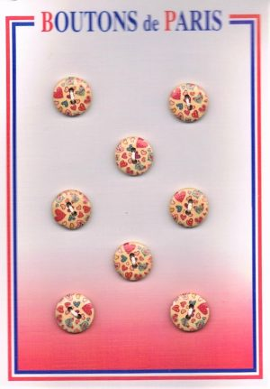 Bouton les cœurs (6pcs) 14mm bouton 2-trous, boutons décoratifs