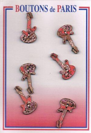 Bouton les guitares 18mm (6pcs) beige, brique, rouge bouton 2-trous, boutons décoratifs