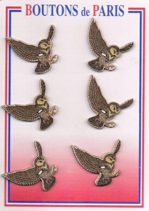 Bouton les hiboux en vol 30mm (6pcs) beige marron, bouton 2-trous, boutons décoratifs