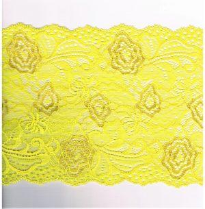 Dentelle ELASTIQUE jaune 170mm, dentelle lycra jaune, dentelle extensible au mètre, couture, lingerie, floral, mariage