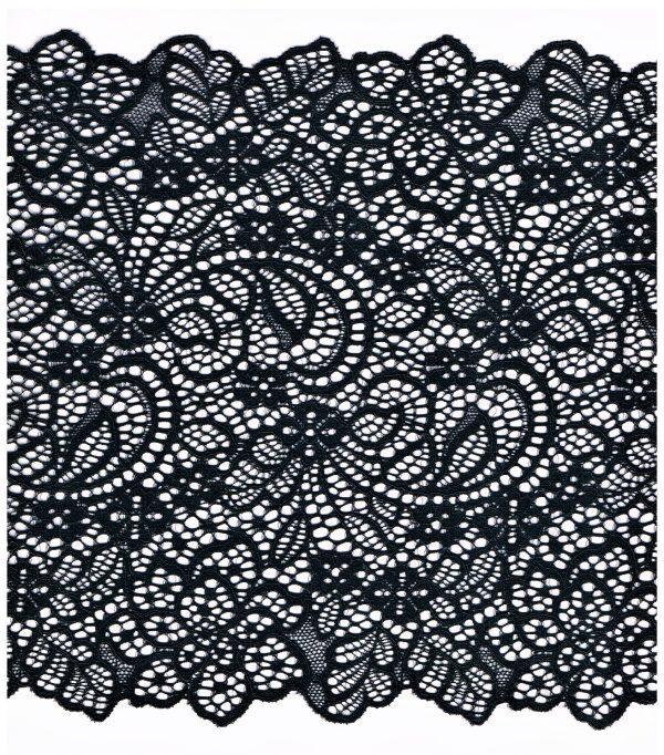 Dentelle ELASTIQUE noir 200mm, dentelle lycra noir, dentelle extensible au mètre, couture, lingerie, floral, mariage