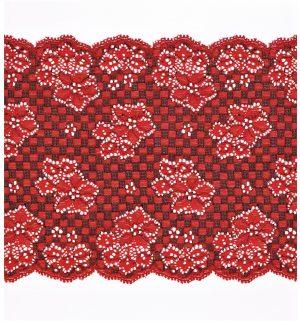 Dentelle ELASTIQUE rouge rubis 160mm, dentelle lycra rouge, dentelle extensible au mètre, couture, lingerie, floral, mariage