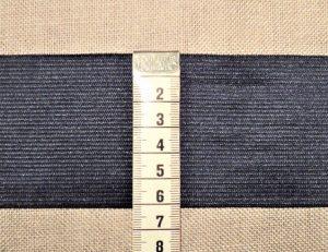 Elastique souple 60mm Marine pour les ceintures, jupes et pantalons, vendu par 10cm