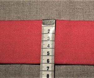Elastique souple 60mm Rouge pour les ceintures, jupes et pantalons, vendu par 10cm