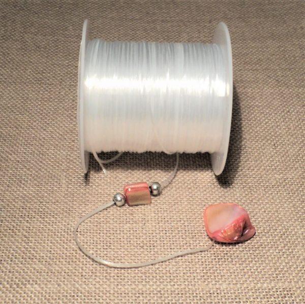 Fil élastique pour bracelets et colliers 0.5mm transparent-blanc