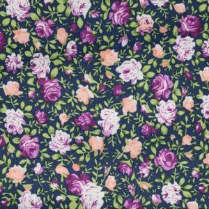 Tissu bleu marine rose anglais 7,90€ le mètre, vendu au mètre
