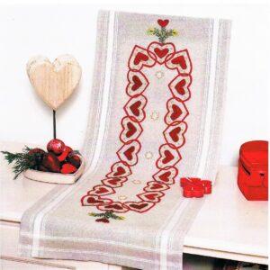 Chemin de table 40x100 cm, kit complet, broderie au passé plat et point lancé, Noël, nappe écru lin pré-imprimé