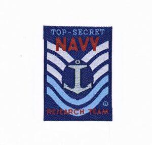 Ecusson à coudre ancre marine top secret (top secret navy) 4.0x5.5cm