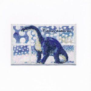 Ecusson à coudre dinosaure 8.0x4.0cm bleu