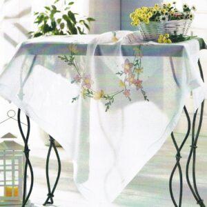 Surnappe à broder 90x90cm, kit complet, broderie au point de tige, les fleurs, nappe blanc pré-imprimé
