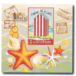 Souvenir de vacances 30x30cm Aïda 7 Kit au point de croix, toile imprimé, Marie Coeur 4779
