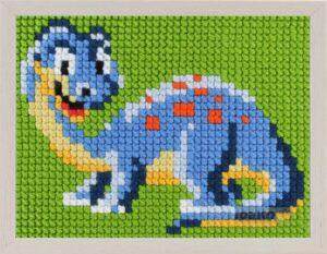 """Kit Canevas ENFANT 18x24cm 'Le dinosaure bleu"""" gros trou débutant, soudan, point de croix"""