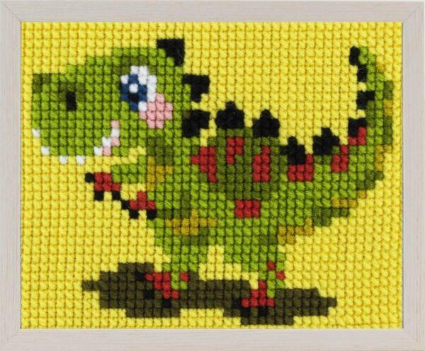 """Kit Canevas ENFANT 18x24cm 'Le dinosaure vert"""" gros trou débutant, soudan, point de croix"""