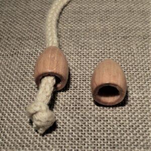 Embouts cordon bois naturel ovale, embouts de cordelette