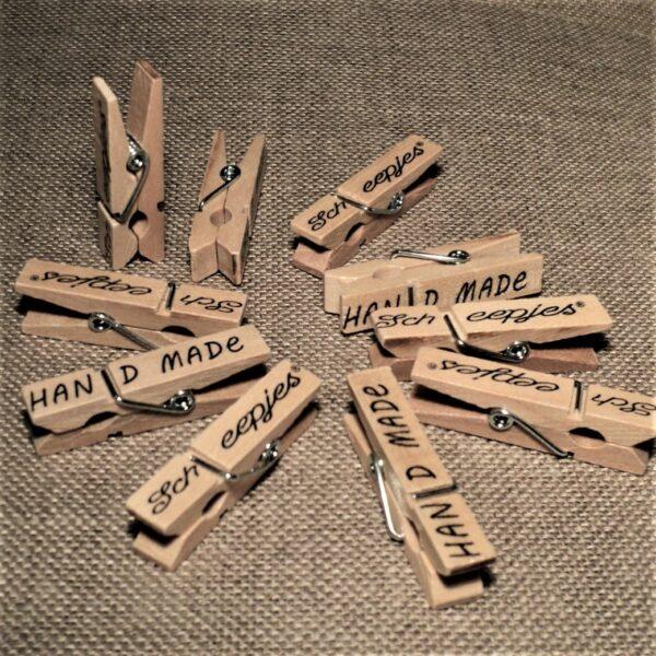 Epingles wonderclips bois naturel, 10 pièces, pince attache tissu
