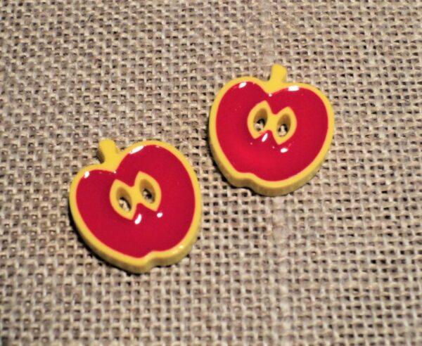 Bouton pomme 13mm rouge, 2-trous, Petit bouton enfant, bébé