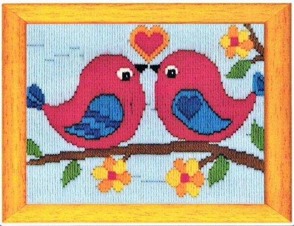 Kit Canevas ENFANT 13x18cm les oiseaux amoureux, débutant en passé plat
